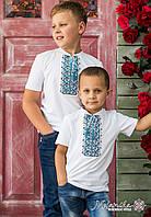Стильна вишита футболка для хлопчика білого кольору із синім геометричним орнаментом «Дем'янчик», фото 1