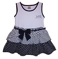 Дитячий сарафан для дівчинки від 1 року до 5 років білий з темною спідницею в дрібний горошок
