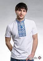Молодіжна футболка для чоловіка в етно стилі «Зоряне сяйво (синя вишивка)»