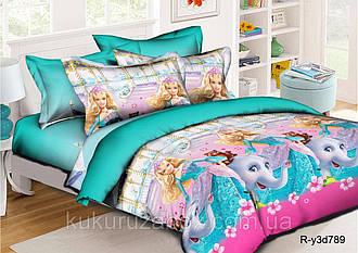 Полуторные детские комплекты 145х215 для девочки из Ранфорса  Барби 70х70