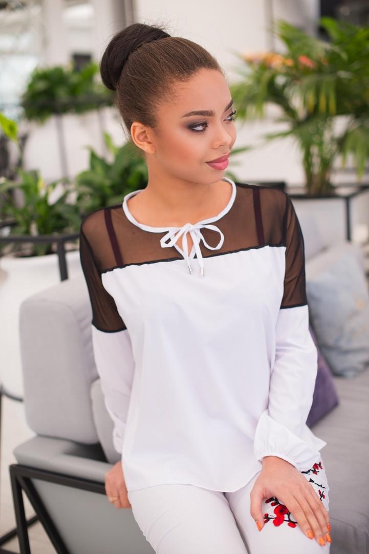 Красивая женская блуза со вставками из сетки 42, 44, 46, 48