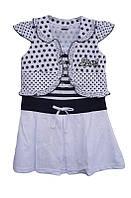 Детское платьес болеров горошек для девочкиот 1 годадо 10лет полосатая кофта с белой юбкой