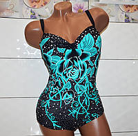 Размер 52! Современный женский слитный синий в горох купальник с бирюзовыми цветами в стразах