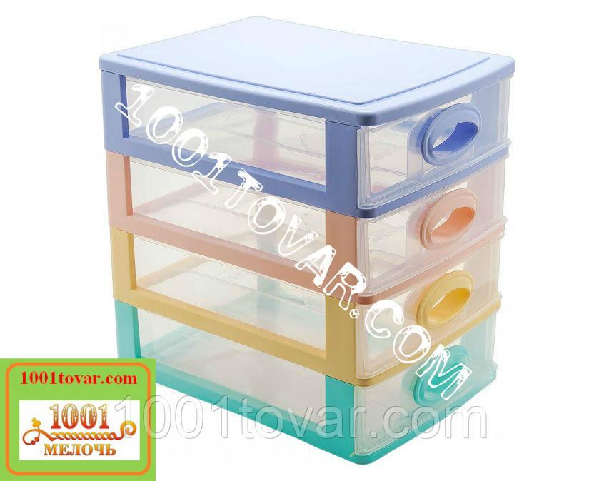 Комод-органайзер Irak Plastik, пластиковий на 4 секції різнобарвний, 27x19x27 див.