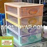 Комод-органайзер Irak Plastik, пластиковий на 4 секції різнобарвний, 27x19x27 див., фото 2