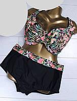 4b6046e5c1b5c Купальник женский раздельный для пышных форм батального размера  52-60,черного цвета с цветами