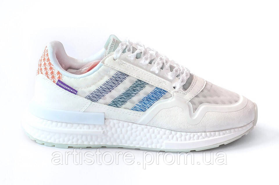 Кроссовки Adidas Consortium ZX 500 RM Commonwealth White with blue Белые с синим
