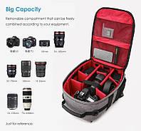 Профессиональная сумка рюкзак для  фотографа  Ightpro 37x23x15см750гр. в наличии синий серый объектив