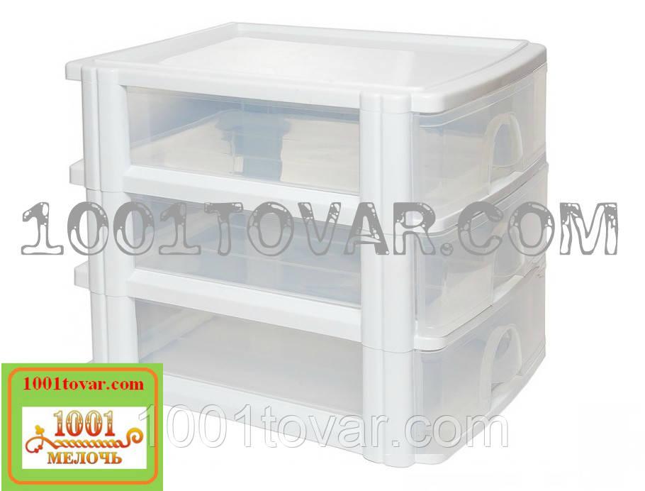 Комод-органайзер Irak Plastik, пластиковий А4 на 3 секції, напівпрозоре-білий