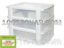 Комод-органайзер Irak Plastik, пластиковый А4 на 3 секции, полупрозрачно-белый