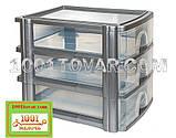 Комод-органайзер Irak Plastik, пластиковий А4 на 3 секції, напівпрозоре-білий, фото 2