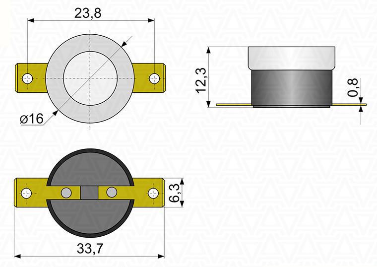 Термостат отсекатель аварийный защитный KSD 301 (КСД) на 95°С самовостанавливающийся 16А