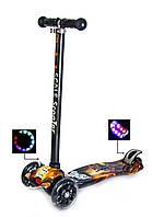Дитячий самокат MAXI Космічні Воїни, з світяться колесами, поворот нахилом керма