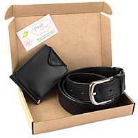 Подарунковий набір №31: Ремінь + затиск для грошей (чорний), фото 1
