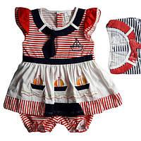 """Детское платье с трусиками для девочки от 6 мес до 18 мес """"Кораблики"""" красное в полоску"""