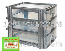 Комод-органайзер Irak Plastik, пластиковый А4 на 3 секции, полупрозрачно-стальной