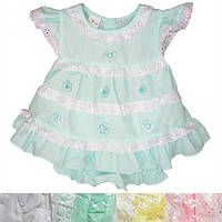 Детское платье с трусиками для девочки от 6 мес до 18 мес белое с ромашками