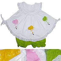 Детское платье белое с салатовыми трусиками для девочки от 6 мес до 18 мес с бабочками