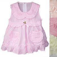 Детское платье розовое с трусиками для девочки от 6 мес до 18 мес с рюшами