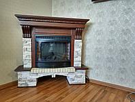 Електрокамін з порталом виконаний з МДФ Fireplace Майамі ефект яскравості згоряння дров і полум'я вогню