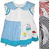 Детское платьес трусикамидля девочки от 6 мес до 18 мес белое в голубую полоску