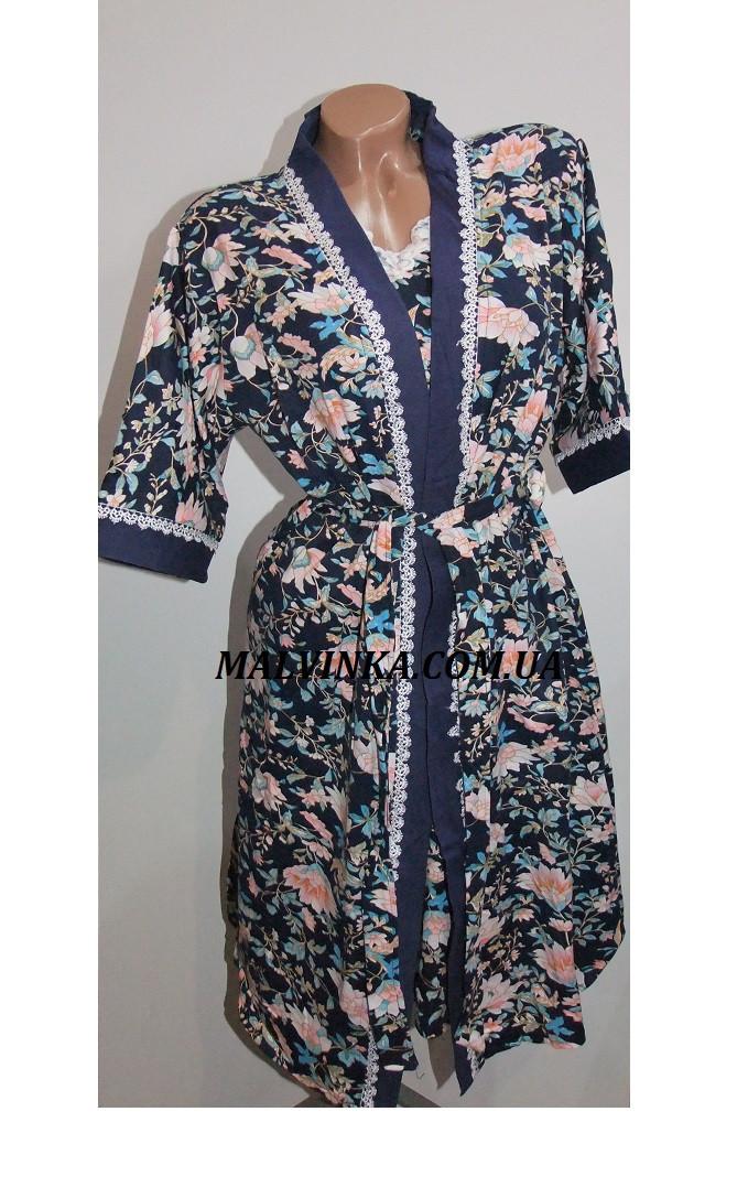 Комплект халат+рубашка женский бамбук Saimeiqi  арт 1818     3 XL р.