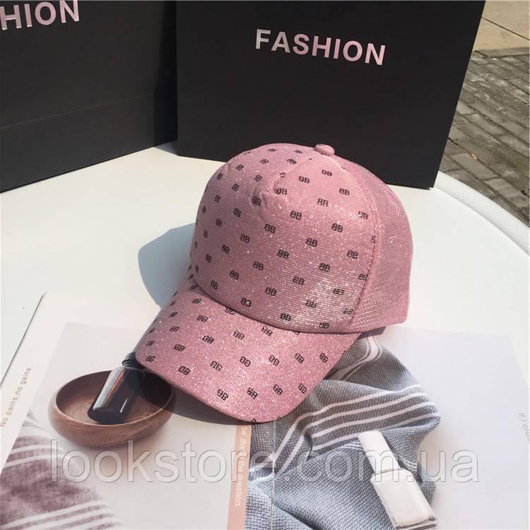 Женская кепка бейсболка ВВ с люрексом розовая