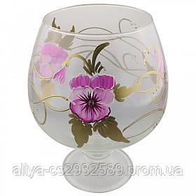 Ваза стеклянная ручной работы Розовые цветы (Бокал средний) ZA-1249