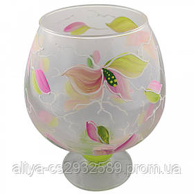 Ваза стеклянная ручной работы Розовые цветы (Бокал средний) ZA-1256