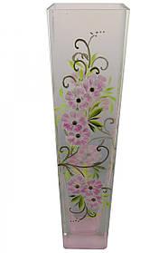Ваза стеклянная ручной работы Розовые цветы (Квадратный конус большой) ZA-1237