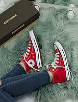Кеды Converse All star High Red with white Красные с белым