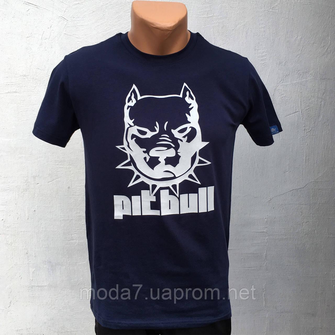 Футболка мужская синяя HR собака Pitbull