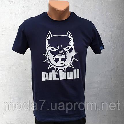 Футболка мужская синяя HR собака Pitbull, фото 2