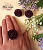 """Серьги и кольцо с цветами из полимерной глины """"Пиончики марсала"""""""