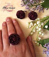 """Серьги и кольцо с цветами из полимерной глины """"Пиончики марсала"""", фото 1"""