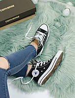 Кеды Converse All star High Black with white Черные с белым