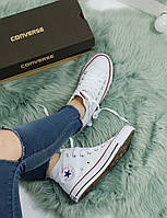 Кеды Converse All star High White with red Белые с красным