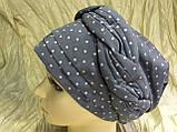 Річна бандана-шапка-косинка-тюрбан в горох колір пудра і сіра, фото 6