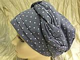 Річна бандана-шапка-косинка-тюрбан в горох колір пудра і сіра, фото 4