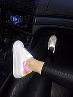 Женские кроссовки в стиле McQueen White Reflective Hologram (Натуральная кожа)