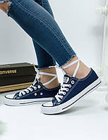 Кеды Converse All star Low Blue with white Синие с белым