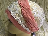 Летняя косынка-шапка-чалма гипюровая  цвет белые с салатовым жгутом, фото 4