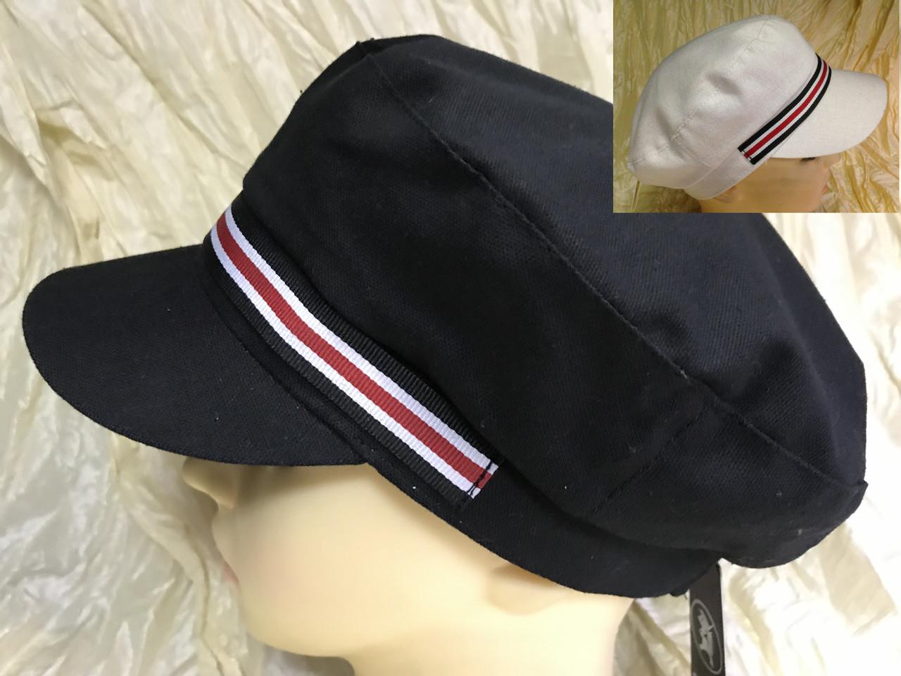 Женская льняная кепка - картуз цвет белый с цветной лентой