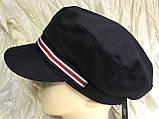 Женская льняная кепка - картуз цвет белый с цветной лентой, фото 4