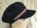 Женская льняная кепка - картуз цвет белый с цветной лентой, фото 6