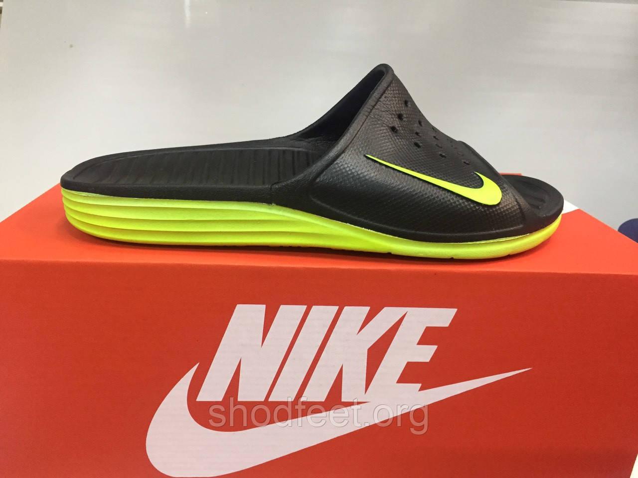Мужские сланцы Nike Solarsoft Slide Black Green Реплика