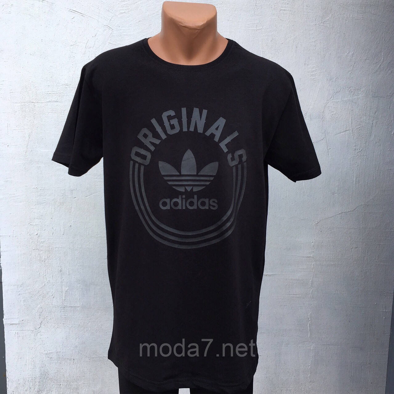 Футболка мужская черная Батал 56-62р Adidas реплика