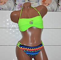 Стильный зеленый раздельный подростковый купальник с брошью, размер 38