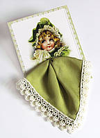 Подарочный носовой платок Девочка оливковый на открытке