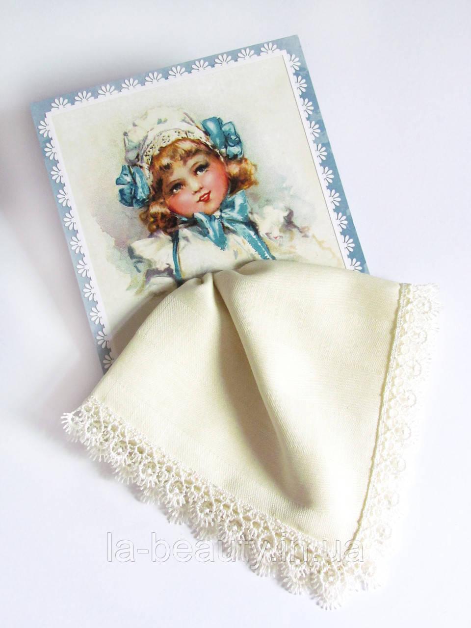 Подарочный носовой платок Девочка молочный на открытке